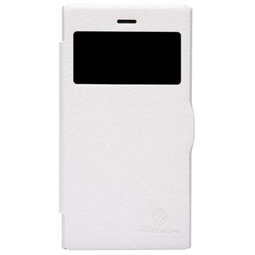 BlackBerry Z3 Nillkin Fresh -Sarjan Nahkainen Läppäkotelo Valkoinen