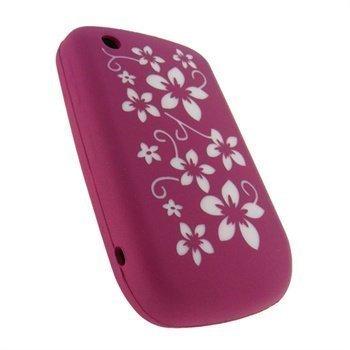 Blackberry Curve 8520 Curve 3G 9300 iGadgitz Kukkakuvioitu Silikonikotelo Pinkki / Valkoinen