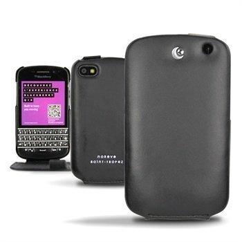 Blackberry Q10 Noreve Tradition Flip Nahkakotelo Musta