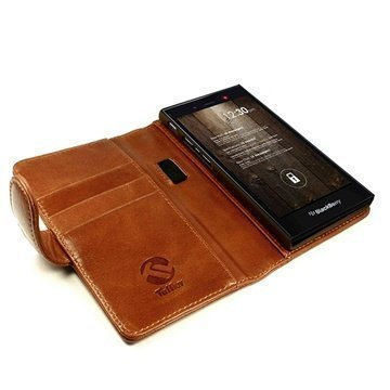 Blackberry Z3 Tuff-luv Vintage Wallet Leather Case Brown