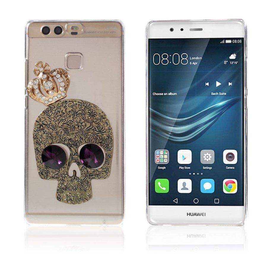 Blixen Tekojalokivi Kova Takakuori Huawei P9 Puhelimelle Pääkallo Jolla On Kruunu