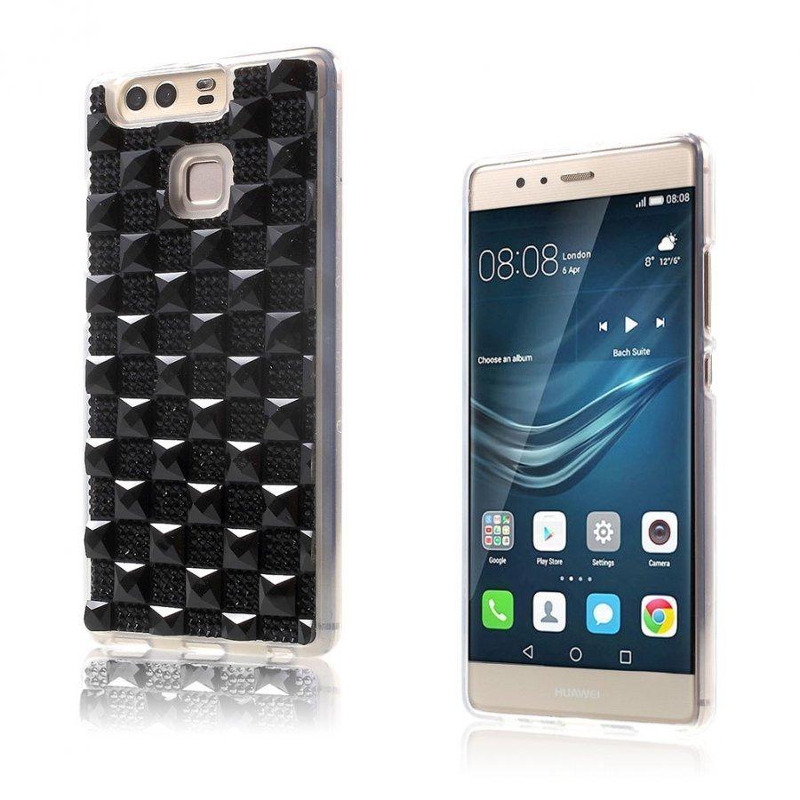 Blixen Tekojalokivi Timantti Kuvioinen Suojaava Tpu Kuori Huawei P9 Puhelimelle Musta