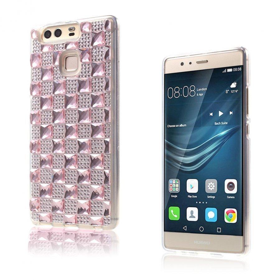 Blixen Tekojalokivi Timantti Kuvioinen Suojaava Tpu Kuori Huawei P9 Puhelimelle Pinkki