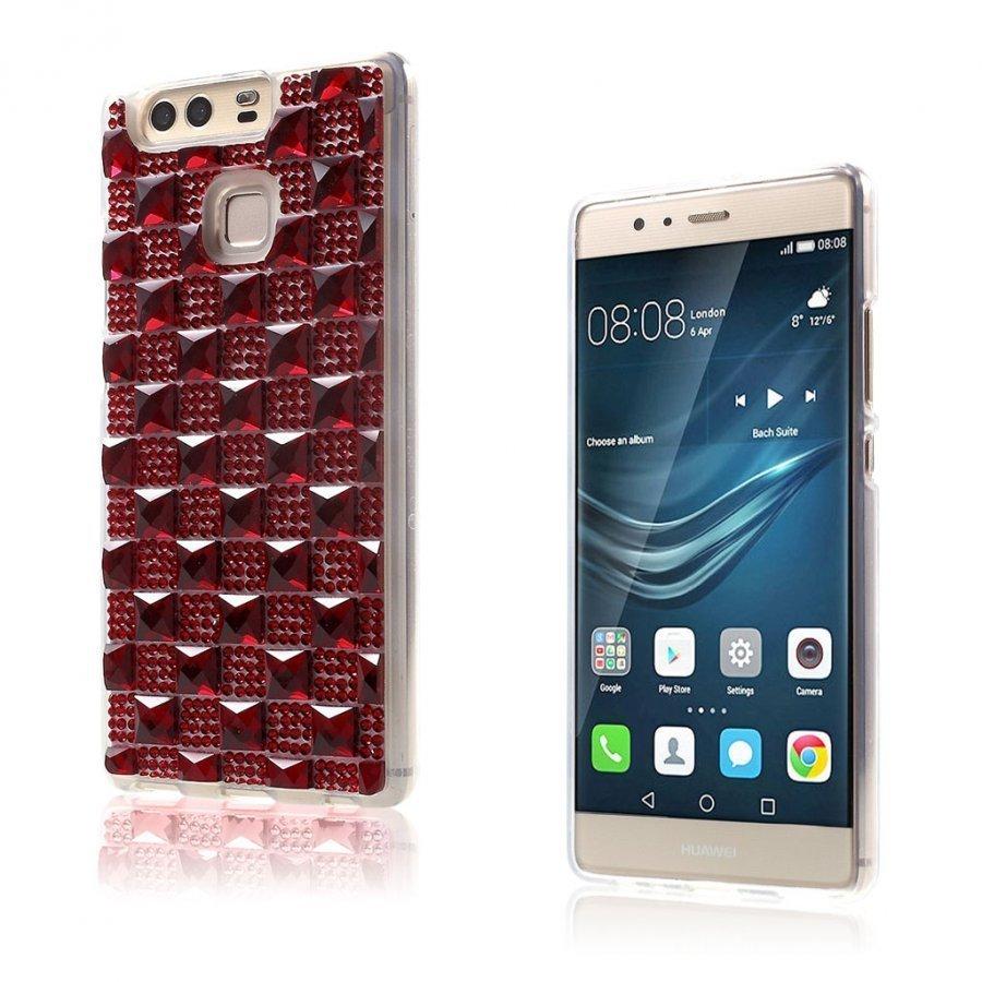 Blixen Tekojalokivi Timantti Kuvioinen Suojaava Tpu Kuori Huawei P9 Puhelimelle Punainen