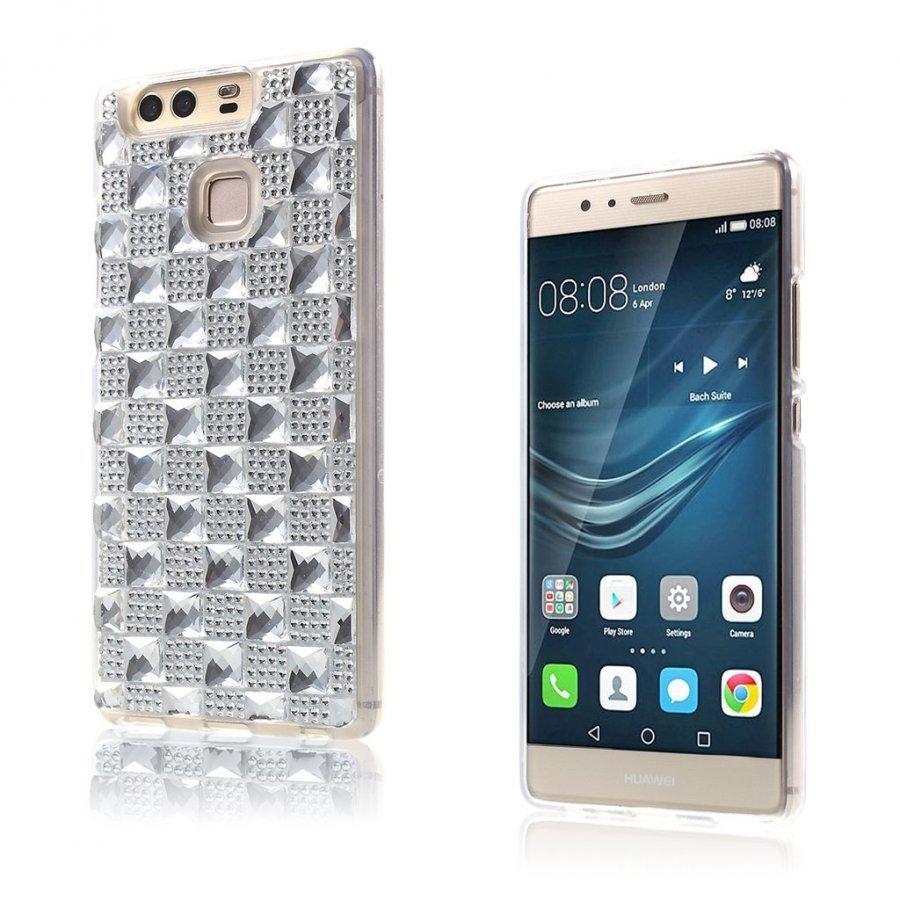 Blixen Tekojalokivi Timantti Kuvioinen Suojaava Tpu Kuori Huawei P9 Puhelimelle Valkoinen