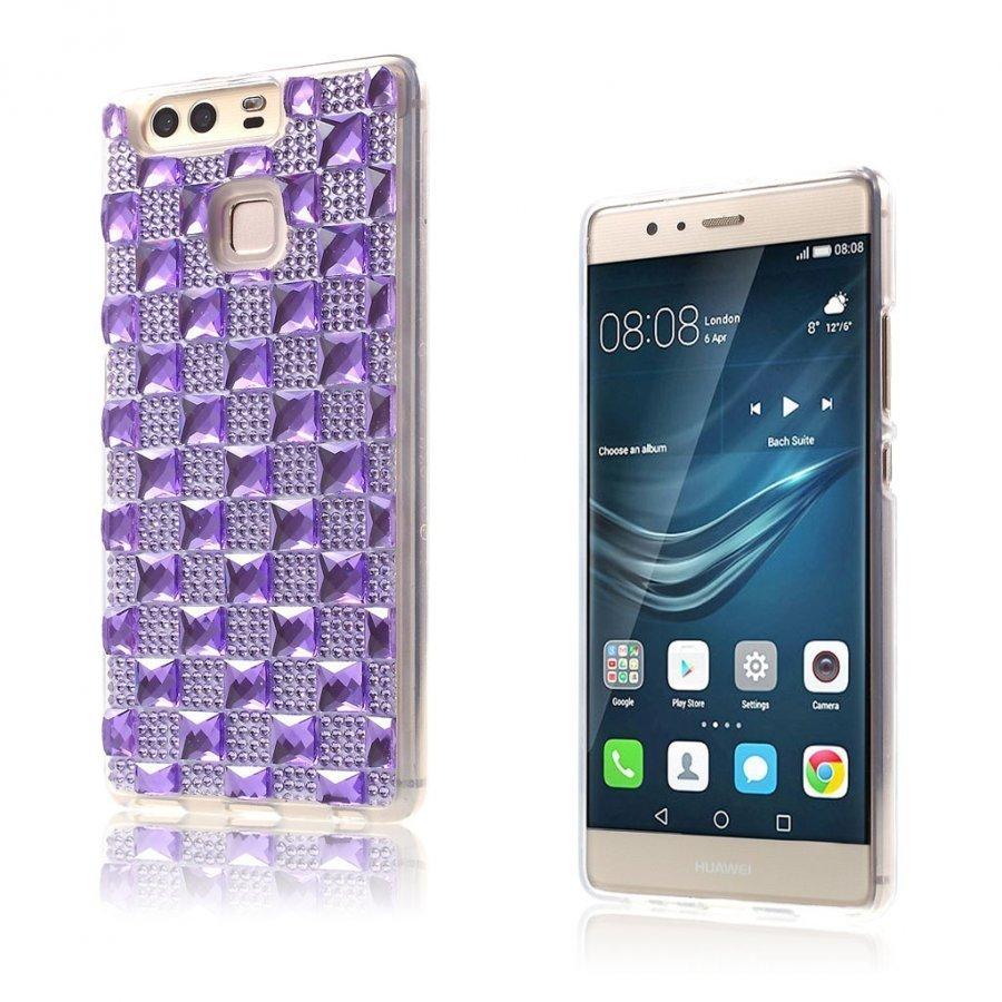 Blixen Tekojalokivi Timantti Kuvioinen Suojaava Tpu Kuori Huawei P9 Puhelimelle Violetti