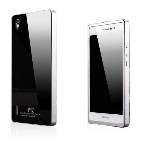Brandes Musta / Hopea Huawei Ascend P7 Alumiini Suojakuori
