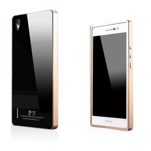 Brandes Musta / Kulta Huawei Ascend P7 Alumiini Suojakuori