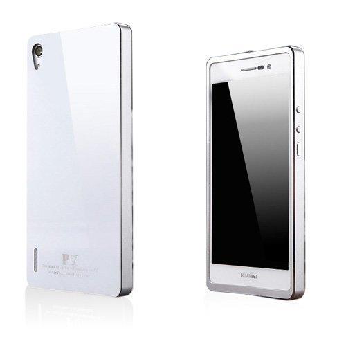 Brandes Valkoinen / Hopea Huawei Ascend P7 Alumiini Suojakuori