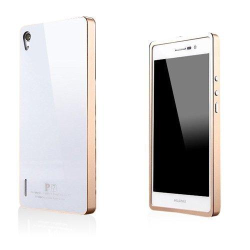 Brandes Valkoinen / Kulta Huawei Ascend P7 Alumiini Suojakuori