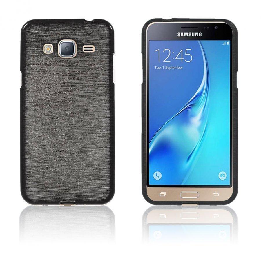 Bremer Samsung Galaxy J3 2016 Kiiltävä Ja Joustava Kuori Musta