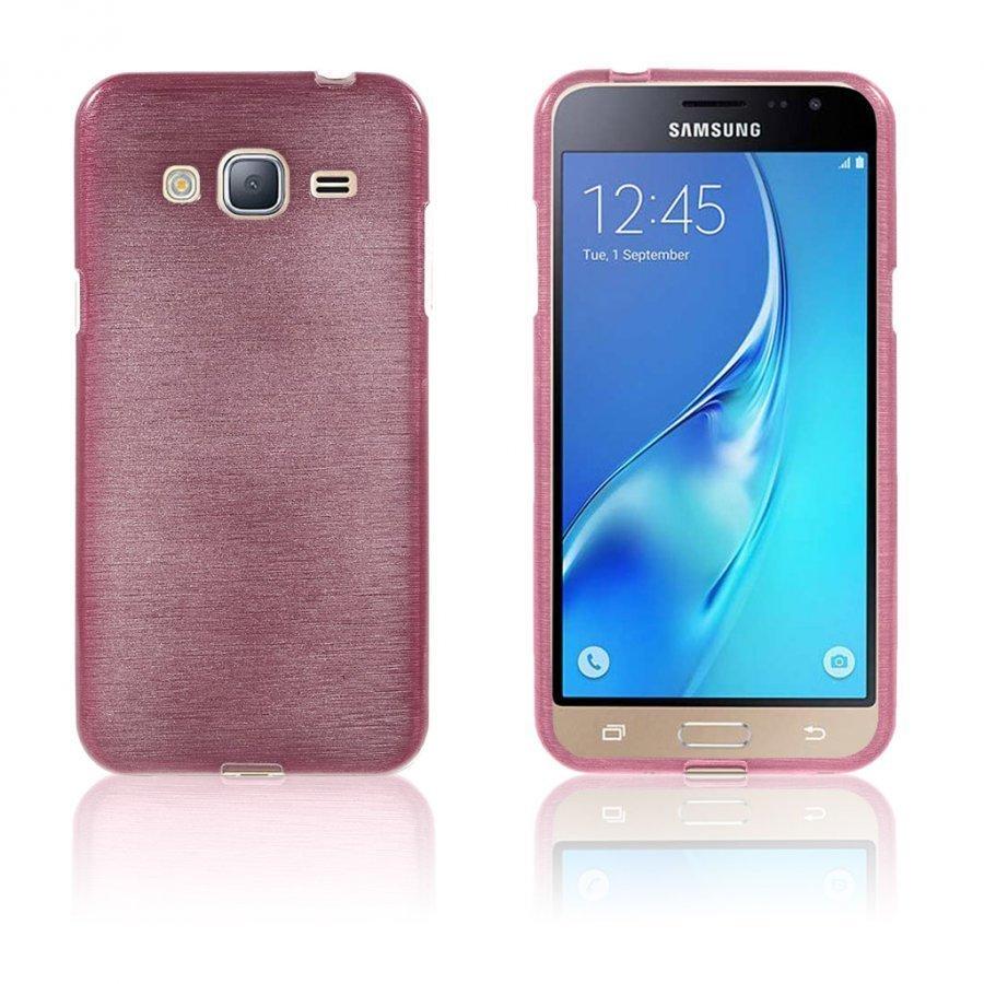 Bremer Samsung Galaxy J3 2016 Kiiltävä Ja Joustava Kuori Pinkki