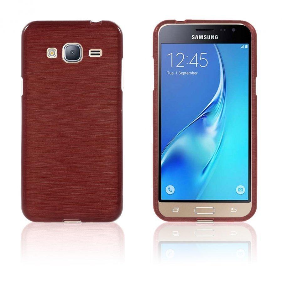 Bremer Samsung Galaxy J3 2016 Kiiltävä Ja Joustava Kuori Punainen
