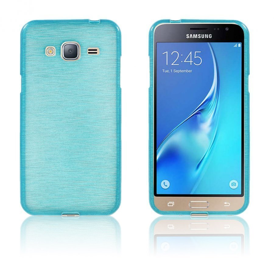 Bremer Samsung Galaxy J3 2016 Kiiltävä Ja Joustava Kuori Sininen
