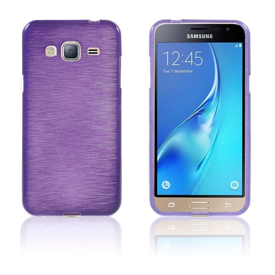 Bremer Samsung Galaxy J3 2016 Kiiltävä Ja Joustava Kuori Violetti