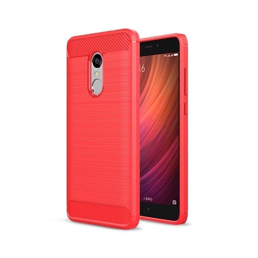 Bremer Xiaomi Redmi Note 4 Joustava Hiilikuitu Muovikuori Punainen