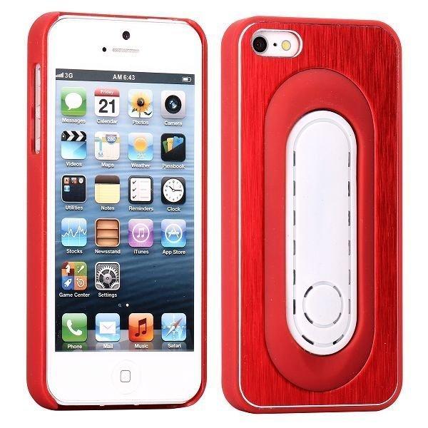 Brushed Alu Kickstand Punainen Iphone 5 Suojakuori