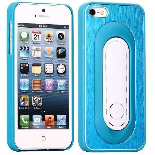 Brushed Alu Kickstand Sininen Iphone 5 Suojakuori