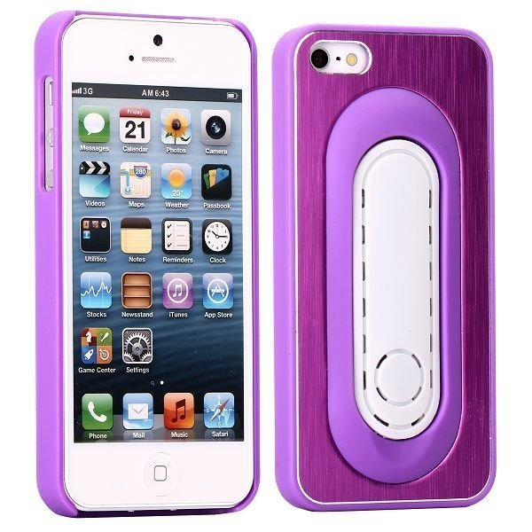 Brushed Alu Kickstand Violetti Iphone 5 Suojakuori