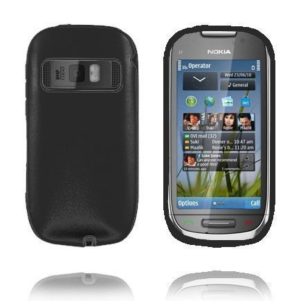 C7 Guard Musta Nokia C7 Silikoni / Metalli Suojakuori