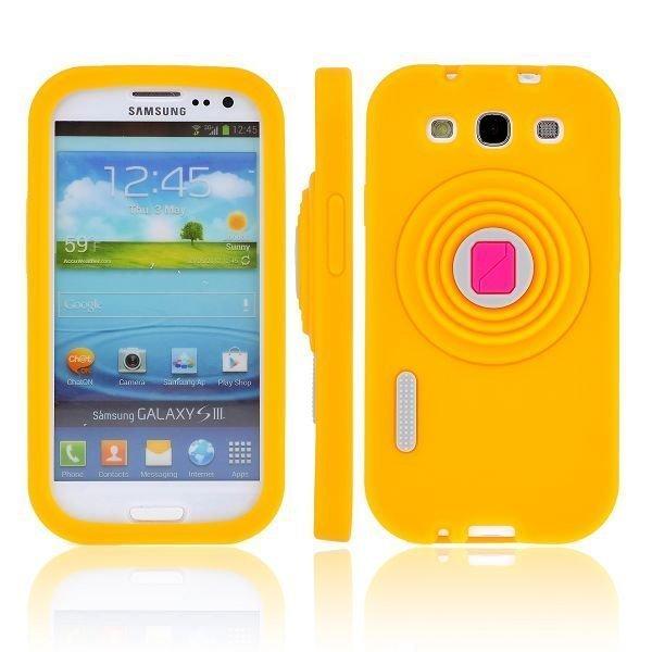Camcase Keltainen Samsung Galaxy S3 Silikonikuori