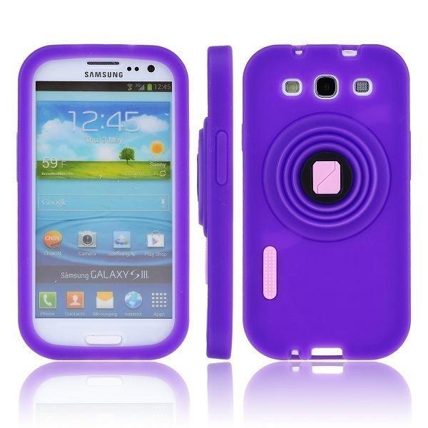 Camcase Violetti Samsung Galaxy S3 Silikonikuori