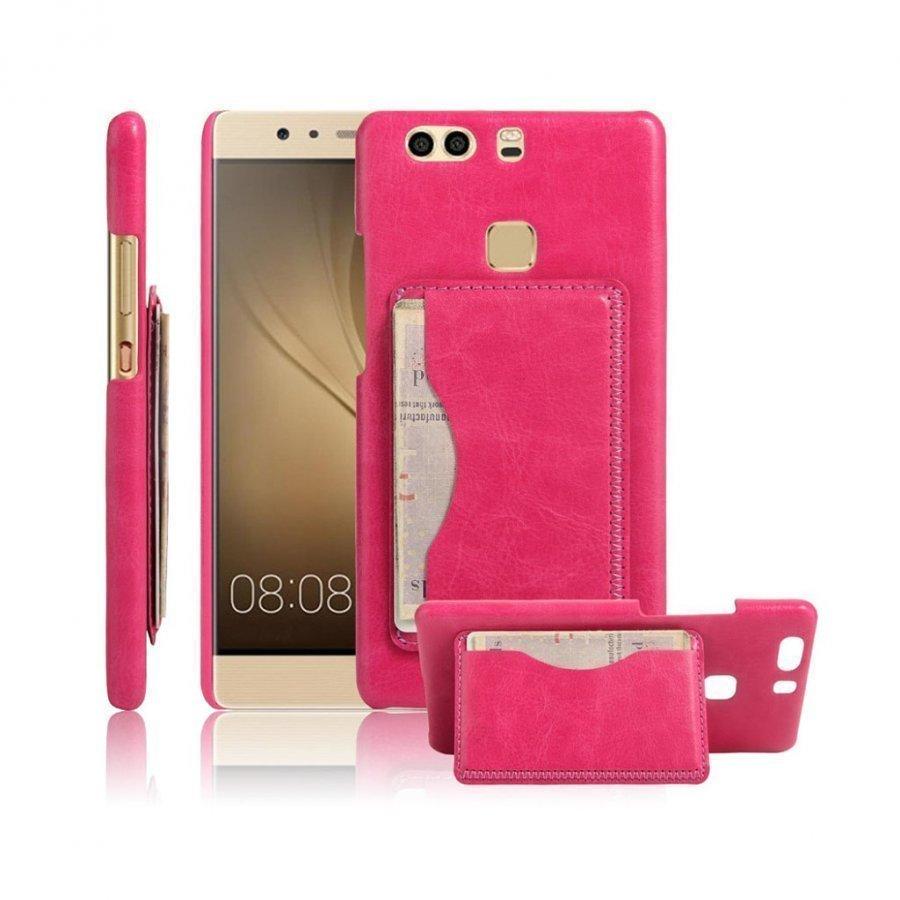 Cangaroo Huawei P9 Plus Vanhanaikainen Nahkakuori Kuuma Pinkki