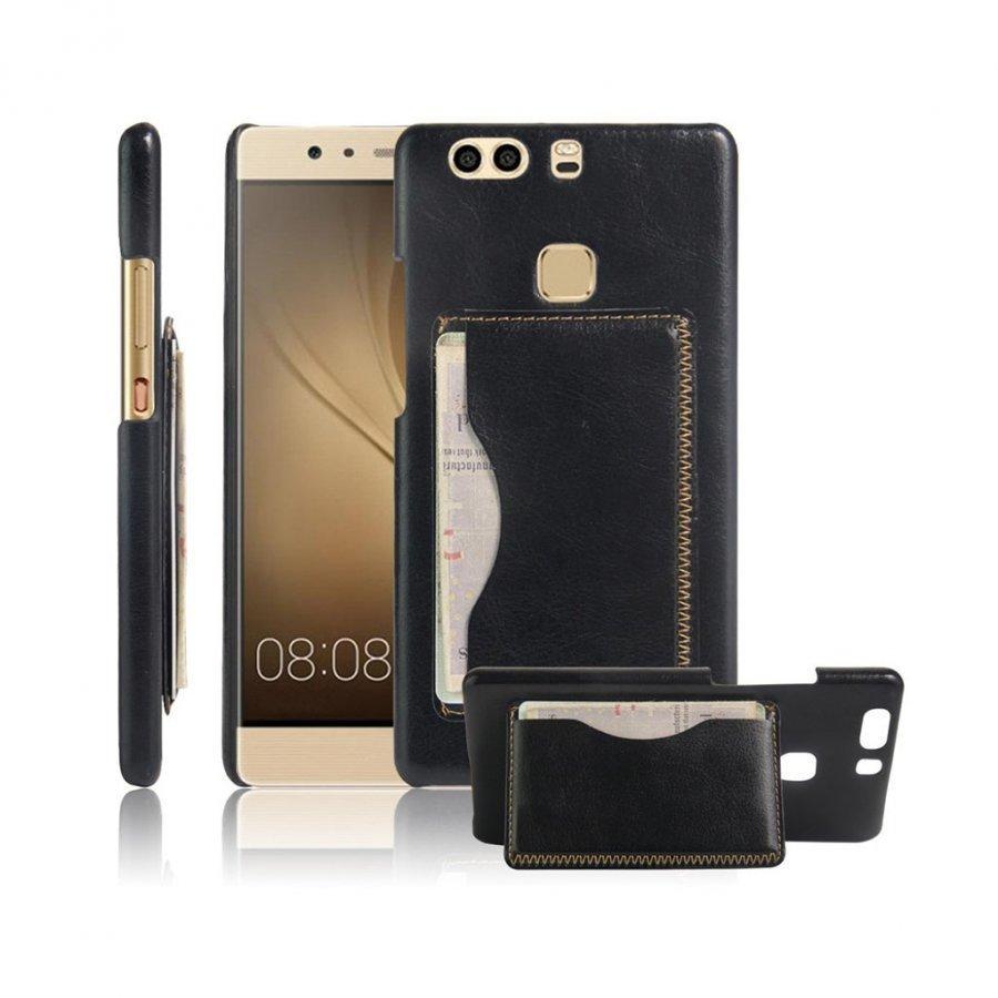 Cangaroo Huawei P9 Plus Vanhanaikainen Nahkakuori Musta