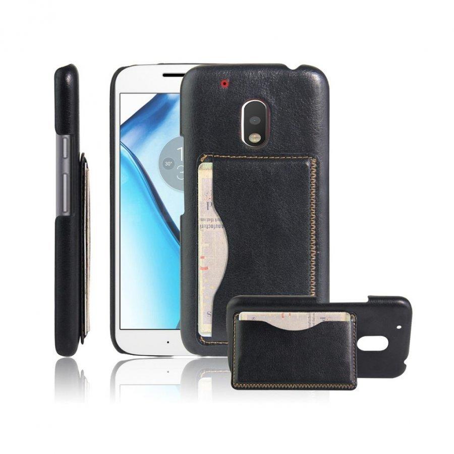 Cangaroo Motorola G4 Play Nahka Päällystetty Kuori Musta