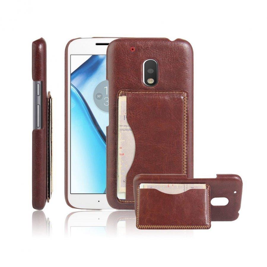 Cangaroo Motorola G4 Play Nahka Päällystetty Kuori Ruskea