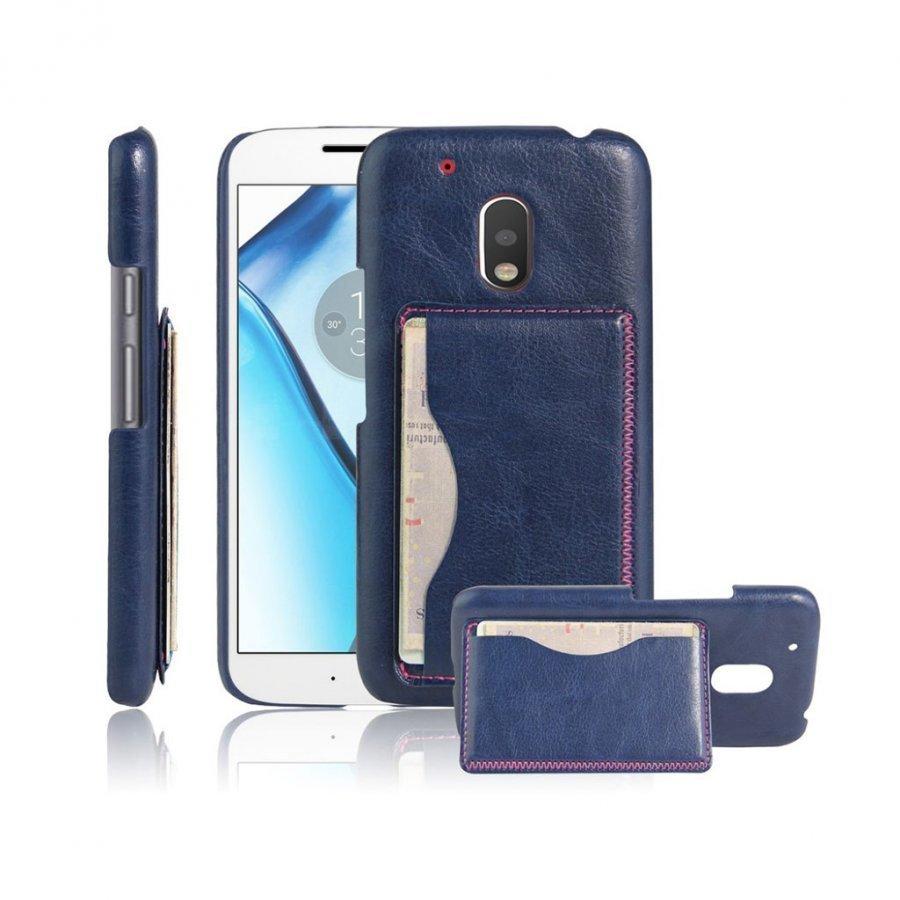Cangaroo Motorola G4 Play Nahka Päällystetty Kuori Sininen