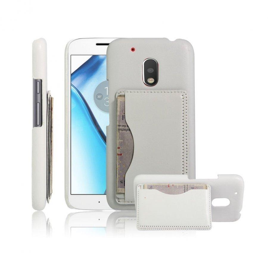 Cangaroo Motorola G4 Play Nahka Päällystetty Kuori Valkoinen