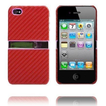 Carbon Kickstand Punainen Iphone 4 Suojakuori