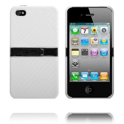 Carbon Kickstand Valkoinen Iphone 4 Suojakuori