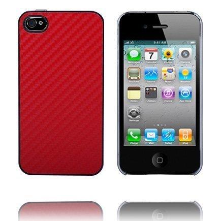 Carbon Kirkas Reunus Punainen Iphone 4 Suojakuori