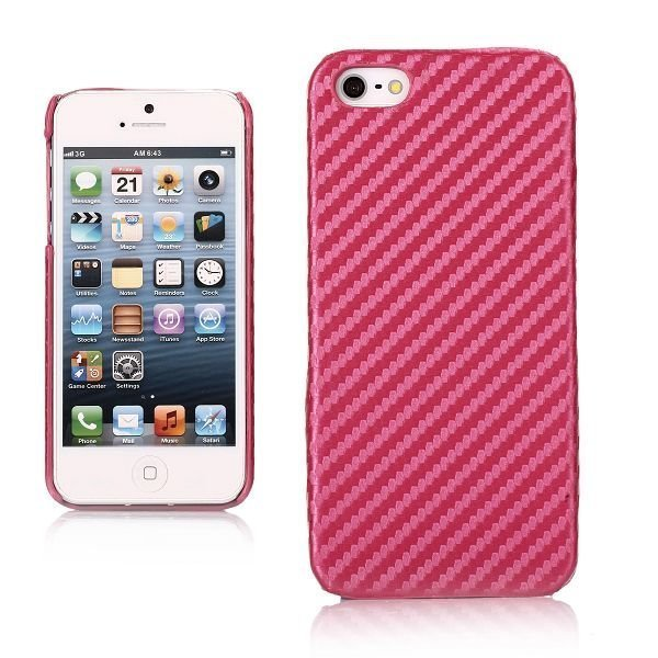 Carbon Kuuma Pinkki Iphone 5 / 5s Suojakuori