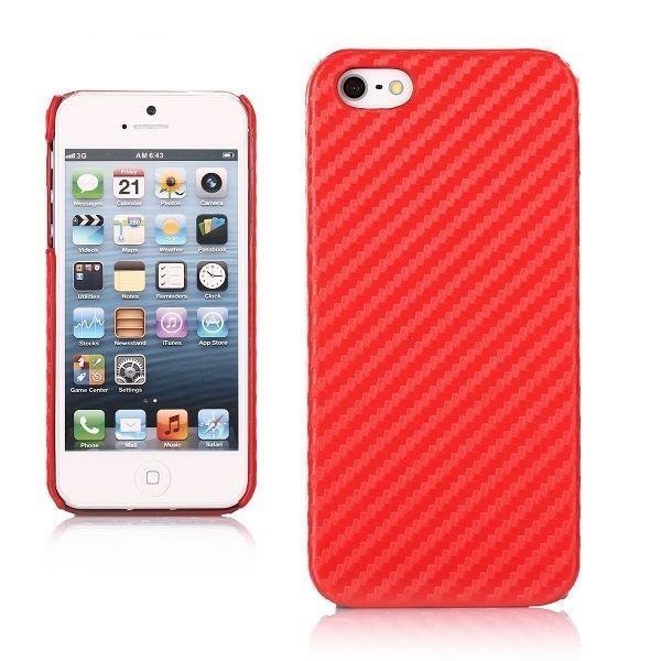 Carbon Punainen Iphone 5 Suojakuori