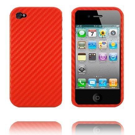 Carbon Slim Punainen Iphone 4 Suojakuori