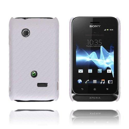 Carbon Valkoinen Sony Xperia Tipo Suojakuori