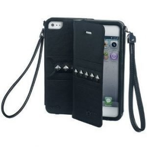 Celly Glamme Agenda Rivets Flip Cover for iPhone5 Black