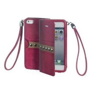 Celly Glamme Agenda Rivets Flip Cover for iPhone5 Fuschia