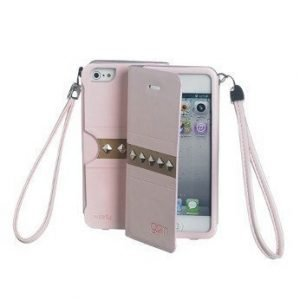 Celly Glamme Agenda Rivets Flip Cover for iPhone5 Pink