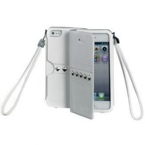 Celly Glamme Agenda Rivets Flip Cover for iPhone5 White