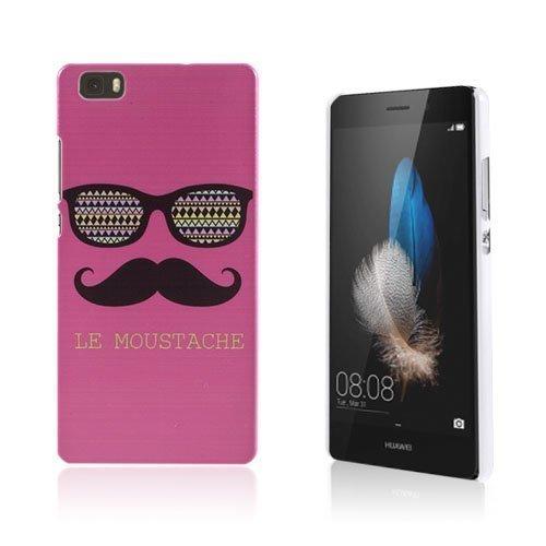 Christensen Kuvioitu Huawei Ascend P8 Lite Kuori Aurinkolasit Ja Viikset Kuuma Pinkki Taustalla
