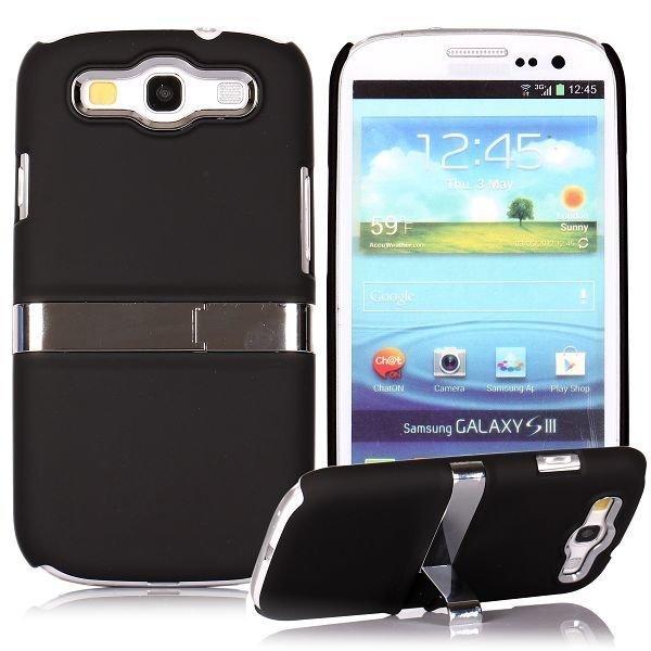 Chrome Kick-Stand Musta Samsung Galaxy S3 Suojakuori