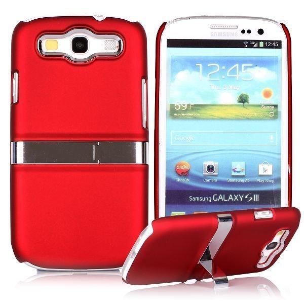 Chrome Kick-Stand Punainen Samsung Galaxy S3 Suojakuori