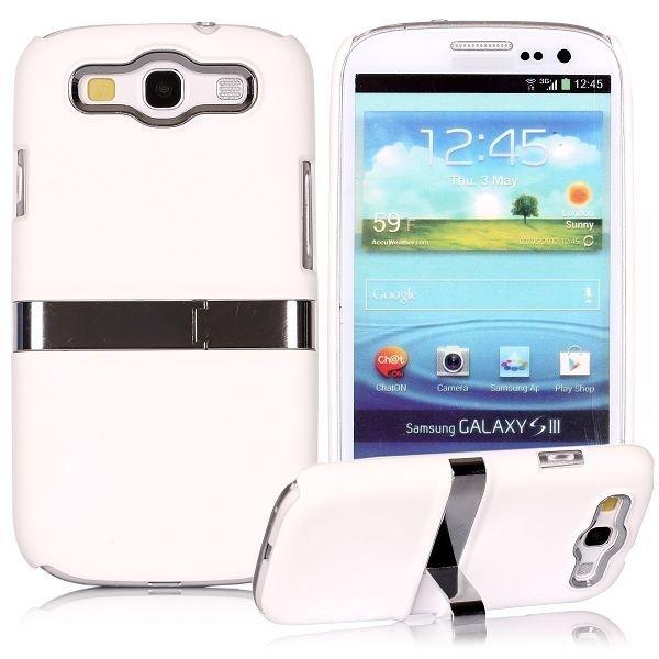 Chrome Kick-Stand Valkoinen Samsung Galaxy S3 Suojakuori