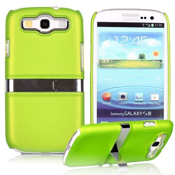 Chrome Kick-Stand Vihreä Samsung Galaxy S3 Suojakuori