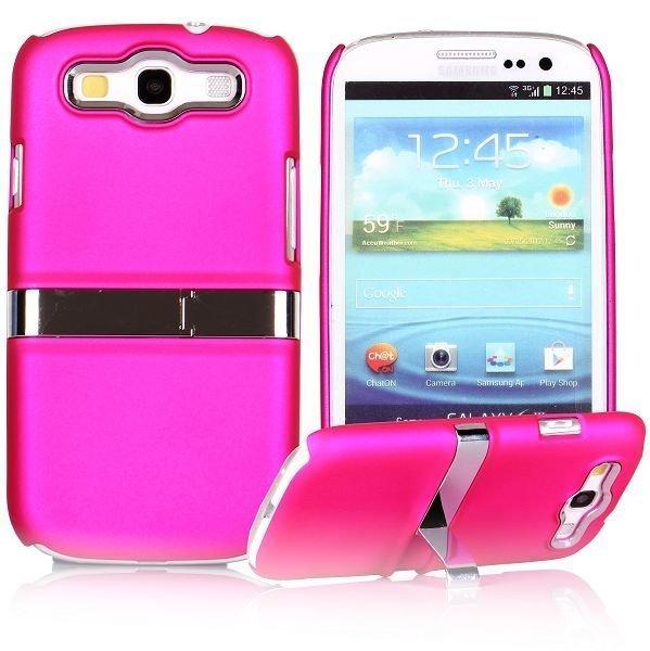Chrome Standi Kuuma Pinkki Samsung Galaxy S3 Suojakuori