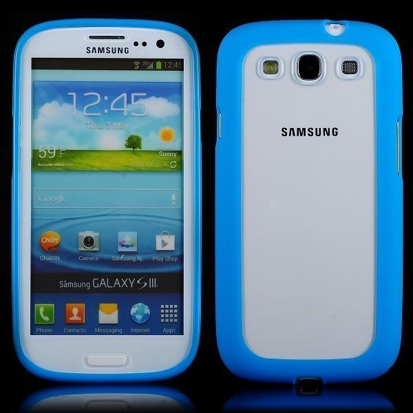 Clear Back Sininen Samsung Galaxy S3 Silikonikuori